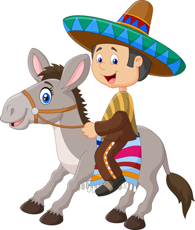 mexican cartoon: Vector illustration of Mexican men riding a donkey isolated on white background Illustration