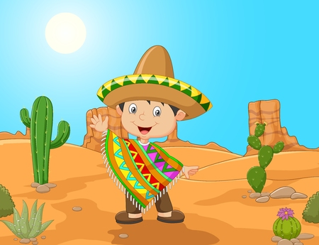 mexicans: illustration of Cartoon a Mexican boy waving hand