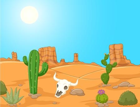 漫画の砂漠の風景、野生の西の図のイラスト