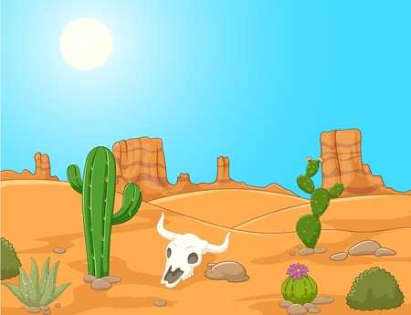 illustration of Cartoon desert landscape, wild west illustration Illustration