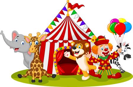 circo: ilustración de dibujos animados feliz animal de circo y clown Vectores