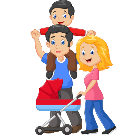 shoulder ride: illustration of Father giving his son piggyback ride with mother pushing baby carriage Illustration