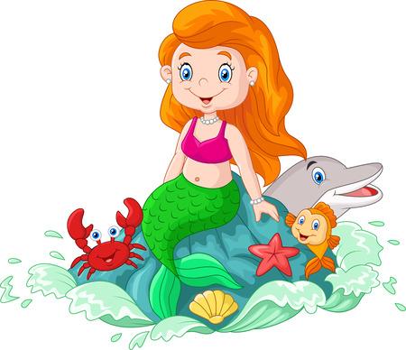 illustration of Cartoon happy little mermaid sitting on the rock