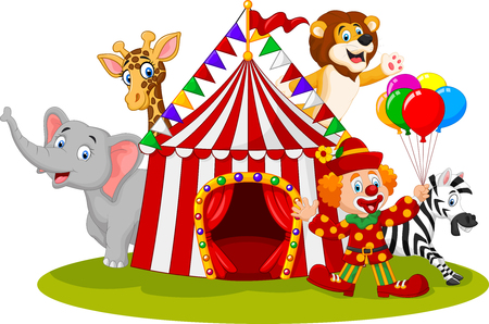 illustration of Cartoon happy animal circus and clown  イラスト・ベクター素材