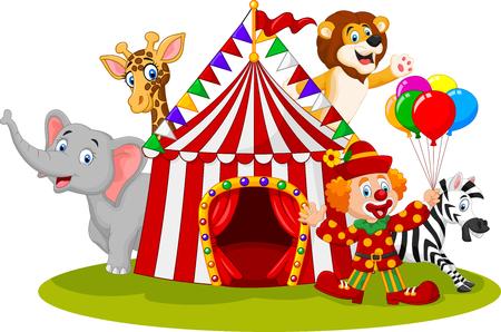 illustration of Cartoon happy animal circus and clown 일러스트