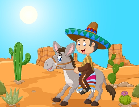 mexican boys: illustration of Mexican men driving a donkey in the desert background