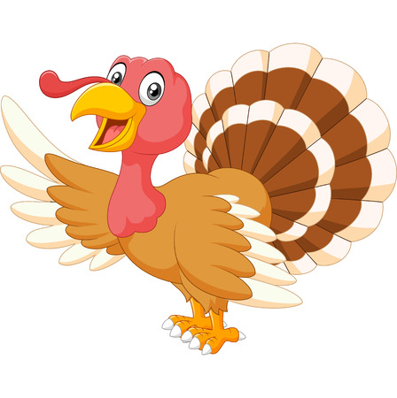turkey: illustration of Cartoon turkey waving isolated on white background