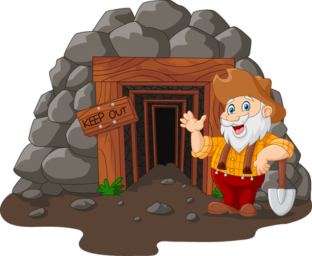 illustration of Cartoon mine entrance with gold miner holding shovel Ilustracja