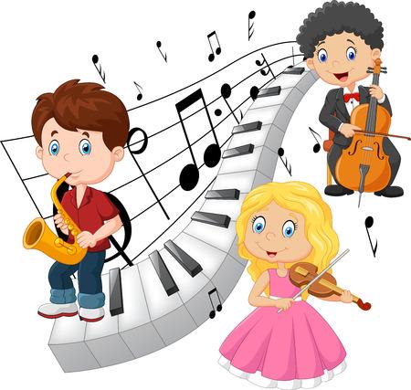 clarinet: ilustración de los niños pequeños tocando música con el fondo de tono de piano Vectores
