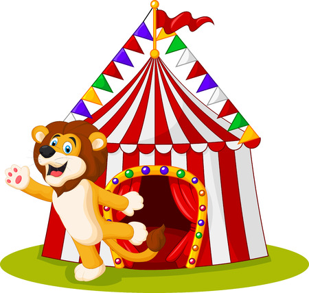 cartoon circus: illustration of Cute lion waving hand in the front of circus tent Illustration