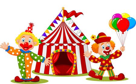ilustración de dibujos animados feliz del payaso delante de la tienda de circo
