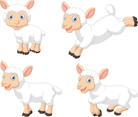 jumping: illustration of Cute cartoon sheep collection set, isolated on white background
