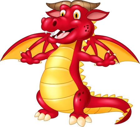 dragones: ilustración de dibujos animados dragón rojo posando aislados sobre fondo blanco