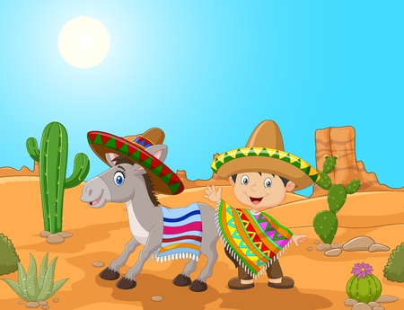 illustration of Cartoon Mexican boy with donkey in the desert background Foto de archivo - 45971188