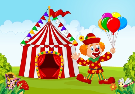illustration of Circus tent with clown holding balloon in the green park