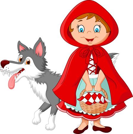 rot: Illustration von Rotkäppchen Begegnung mit einem Wolf