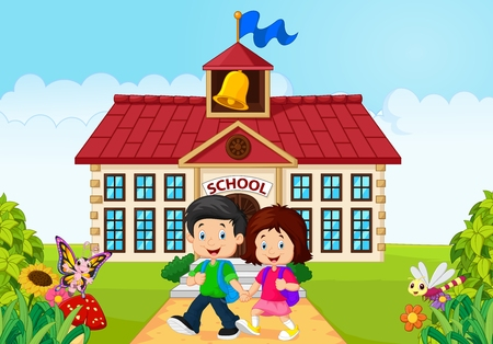 school class: illustration of Cartoon little children leaving school