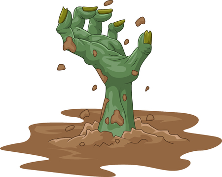 cartoon halloween: illustration of Cartoon zombie hand out of the ground on isolated background