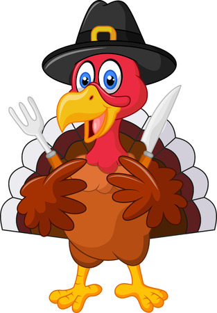 illustration of Thanksgiving turkey mascot holding knife and fork and wearing a pilgrim hat