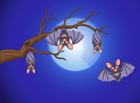 illustration of Adorable bat cartoon sleeping and fly at night with full moon background