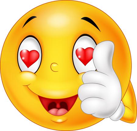 만화 웃는 사랑 얼굴의 그림과 엄지 손가락을 제공합니다. 삽화