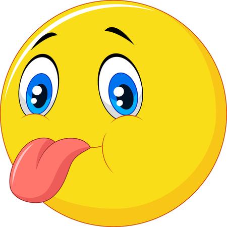 jest: illustrazione di cartone animato emoticon con faccia da scemo