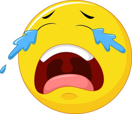 illustration of Cartoon emoticon crying isolated on white background