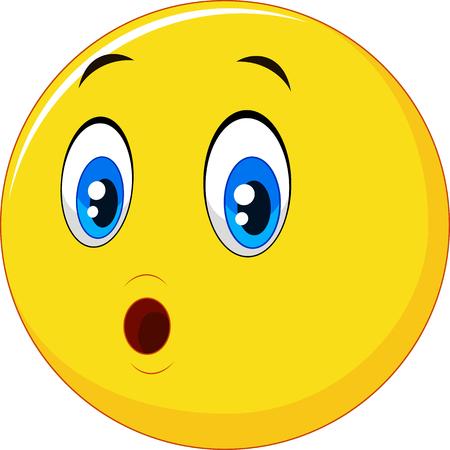 ilustrace Překvapený emotikonů obličeje karikatury Ilustrace