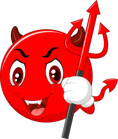 infernal: illustration of Cartoon red devil emoticon holding trident isolated on white background