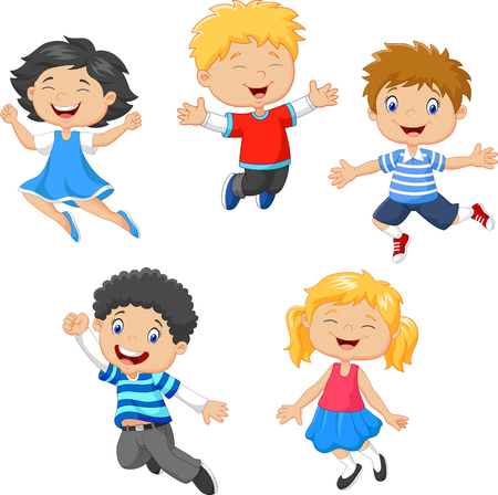 jumping: illustration of Children jumping together on white background