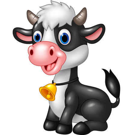 moo: illustration of Happy animal baby cow in a sitting posing