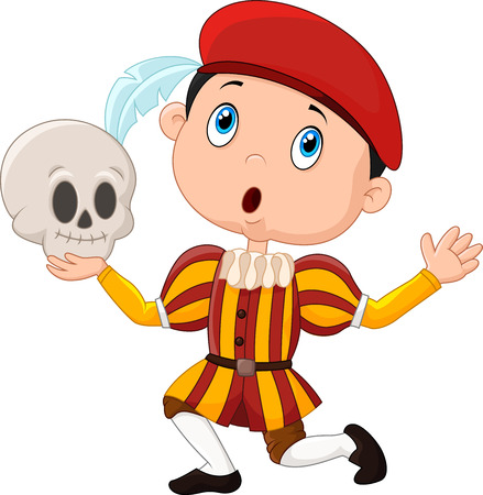 illustration of Little boy playing Hamlet in a school play, holding a skull Illustration