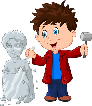illustration of Sculptor boy holding chisel and hammer 矢量图像