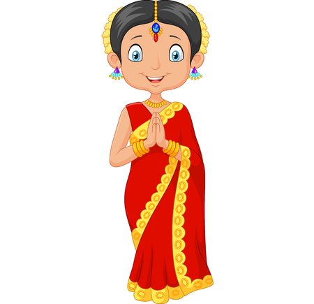 indian saree: illustration of Cartoon Indian girl wearing traditional dress on white background
