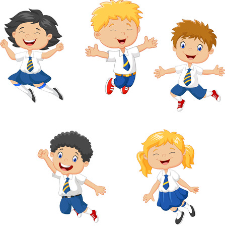 group of kids: illustration of Little kids smiling and jumping together on white background