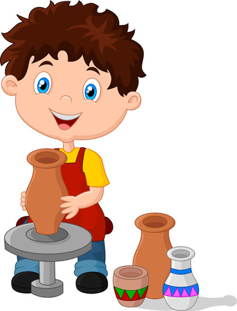 clay craft: illustration of Happy little boy creating a vase on a pottery wheel