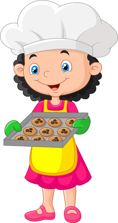 eat: illustration of Little girl holding baking tray with baking ready to eat