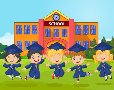 illustratie van Happy kleine kinderen vieren hun afstuderen met school achtergrond