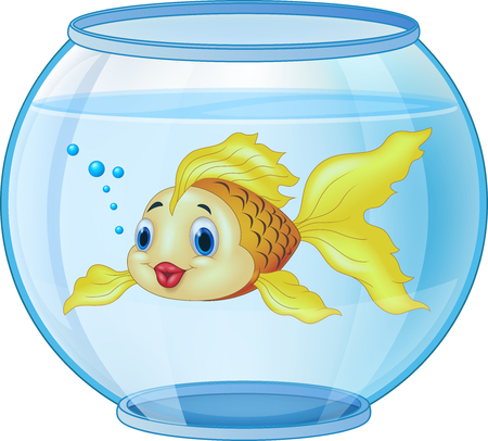 illustration of Cartoon golden fish in the aquarium