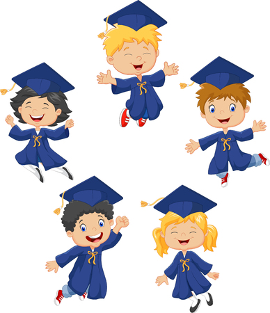 graduado: ilustración de los niños pequeños de la historieta celebran su graduación aislado en fondo blanco Vectores