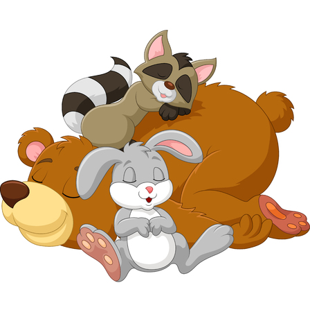sleep: illustration of Cartoon wild animal sleeping together