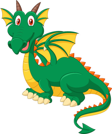 green dragon: illustration of Cartoon happy green dragon isolated on white background