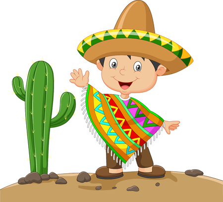 illustration of Cartoon boy wearing Mexican dress on nature cactus background