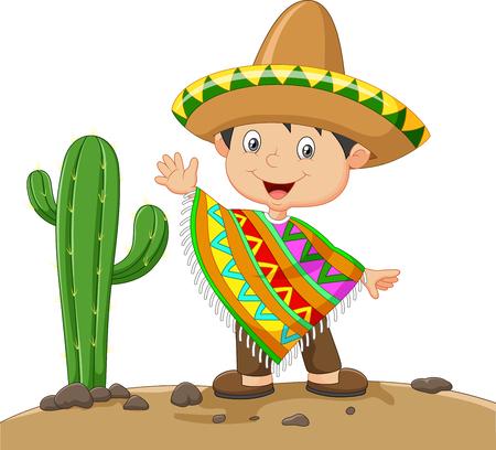 traje mexicano: ilustración de Muchacho de la historieta con un vestido mexicana en la naturaleza cactus fondo