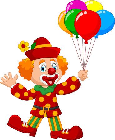 payaso: ilustración de payaso adorable que sostiene globo colorido aislado en el fondo blanco
