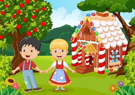 fairytale: illustration of Classic children story. Hansel and Gretel
