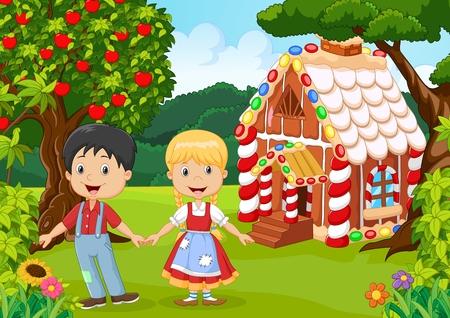 nursery tale: illustration of Classic children story. Hansel and Gretel