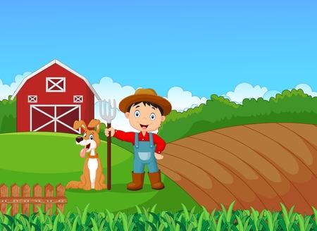 agricultor: ilustración de pequeño granjero de la historieta y su perro con el fondo de la granja