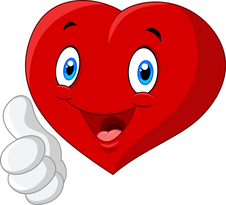 medical heart: illustration of Cartoon heart love giving thumb up isolated on white background Illustration