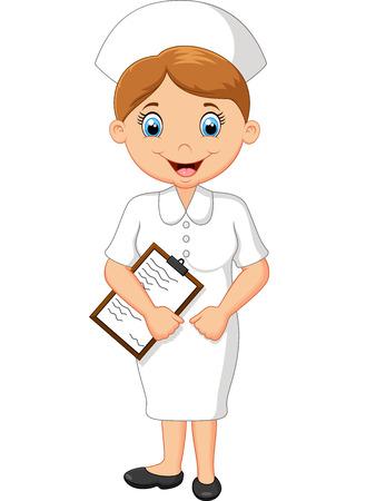 white uniform: illustration of Cartoon happy nurse in white uniform
